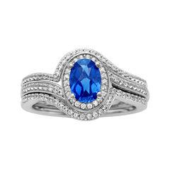 10K White Gold Sapphire and Diamond Bridal Set