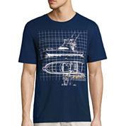 St. John`s Bay Mariner Short Sleeve Crew Neck T-Shirt