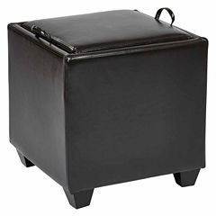 Storage Ottoman with Tray in Bonded Leather