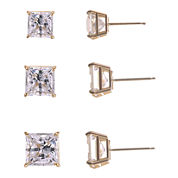 3-Pr. Princess-Cut Cubic Zirconia Gold over Silver Stud Earring Set