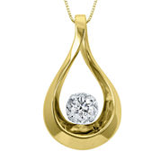 Sirena® 1/10 CT. Diamond 10K Yellow Gold Teardrop Pendant Necklace