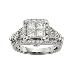 1½ CT. T.W. Diamond 10K White Gold Quad Princess Ring
