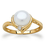 Sofia Womens Pearl 10K Gold Cocktail Ring