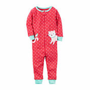 Carter'S Girls 1Pc Red Dot Pink Kitten Pajama-Toddler
