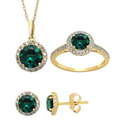 Lab Created Emerald And White Sapphire Earrings, Pendant Or Ring