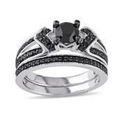 Midnight Black Diamond 1 CT. T.W. Color-Enhanced Black Diamond Sterling Silver Bridal Set