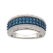 1/10 CT. T.W. White & Color-Enhanced Blue Diamond Ring