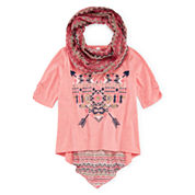 Knit Works® 3/4-Sleeve Top and Scarf Set - Girls 7-16