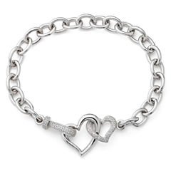 1/10 CT. T.W. Diamond Heart Link Bracelet