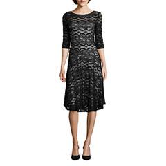 Melrose 3/4 Sleeve Fit & Flare Dress