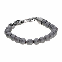 Mens Black Hematite Stainless Steel Wrap Bracelet