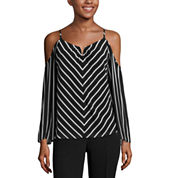 nicole by Nicole Miller Striped Cold Shoulder Top