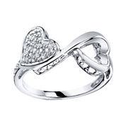 Love Grows™ 1/10 CT. T.W. Diamond Double Heart Ring