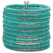 Mixit Womens Aqua Seed Bead Cuff Bracelet