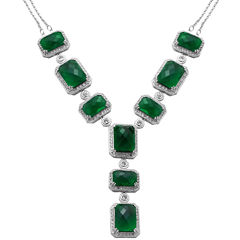 Alexandra Gem Green Crystal Y Necklace Sterling Silver
