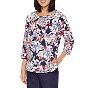 Alfred Dunner Uptown Girl 3/4 Sleeve Abstract Print Top