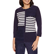Alfred Dunner Stripe Patch Sweater