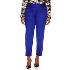 Worthington® Wide Waistband Double Cotton Slim Pants - Plus