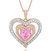 Lab-Created Pink and White Sapphire 14K Rose Gold Over Silver Heart Pendant