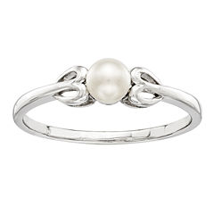 Womens White Pearl Sterling Silver Delicate Ring