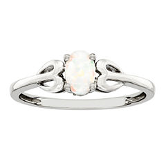Womens White Opal Sterling Silver Delicate Ring