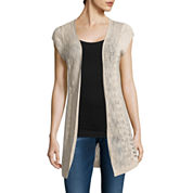 It's Our Time Open Front Short Sleeve Cardigan-Juniors