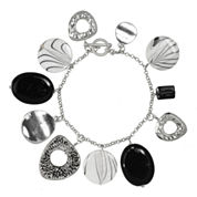 ROX by Alexa Black and White Shell Toggle Bracelet