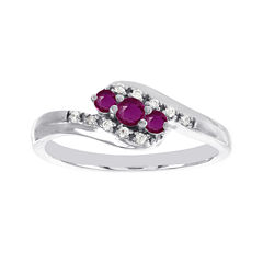 Lumastar Lead Glass-Filled Ruby and Diamond-Accent Promise Ring