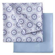 Home Expressions 2pk Print/Solid Microfiber Easy Care Sheet Set