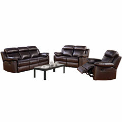 Caroline Leather Sofa + Loveseat Set