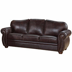 Elizabeth Leather Roll-Arm Sofa