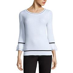 Liz Claiborne Elbow Sleeve Crew Neck Pullover Sweater