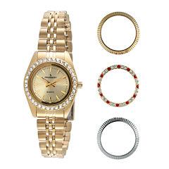Peugeot® Womens Interchangeable 4-Bezel Gold-Tone Bracelet Watch Set