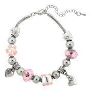 Dazzling Designs™ Silver-Plated Pink Artisan Glass Bead Bracelet