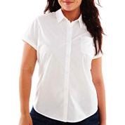 Arizona Short-Sleeve Button-Front Uniform Shirt - Juniors Plus