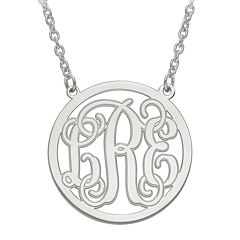 Personalized Initial Etched Outline Monogram 26mm Circle Pendant Necklace
