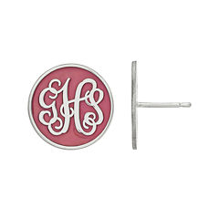 Personalized Sterling Silver Round Enamel Monogram Stud Earrings