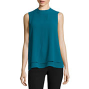Worthington Sleeveless Mock Neck Woven Blouse