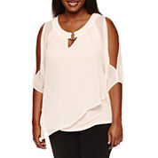 by&by 3/4 Sleeve V Neck Woven Blouse-Juniors Plus