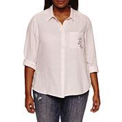 Arizona Long Sleeve Embroidered Stripe Shirt-Juniors Plus