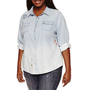 Arizona Embroidered Denim Shirt-Juniors Plus