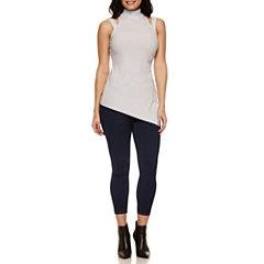 Bisou Bisou Mock Neck Assymetrical Top or Stack Waist Skinny Jeans