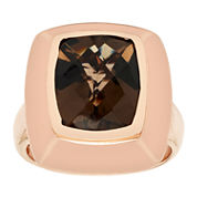 Womens Brown Quartz Gold Over Silver Cocktail Ring