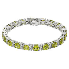 Womens Green Peridot Sterling Silver Tennis Bracelet