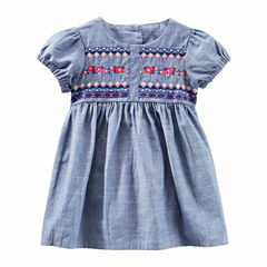 Oshkosh Short Sleeve Cap Sleeve Babydoll Dress - Baby Girls