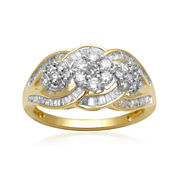 diamond blossom 1 CT. T.W. Diamond 10K Yellow Gold 3-Cluster Ring