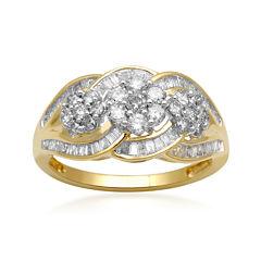 diamond blossom 1 CT. T.W. Diamond 10K Yellow Gold 3-Cluster Ring