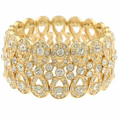 Monet Clear And Goldtone Stretch Bracelet