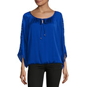 Alyx Long Sleeve Scoop Crochet Neck Charmeuse Blouse