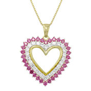 Sterling Silver Lab-Created Ruby & White Sapphire Heart Pendant Necklace